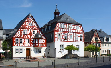 Traditional half-timbered houses at the market square of Kirchberg city, Germany