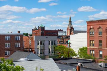 Historic buildings on Main Street in Nashua, New Hampshire, NH, USA.