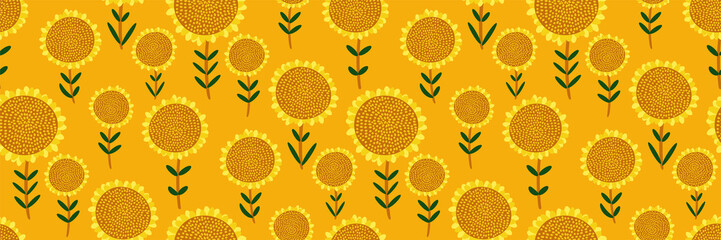 Cute floral print. Seamless pattern with small hand drawn sunflowers on bright yellow background. Abstract botanical panorama, Wallpaper, fabric, template for sunny design...Vector illustration.