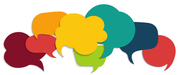Colored speech bubble. Communication concept. Social network. Colored cloud. Speak - discussion - chat. Symbol talking and communicate. Friendship and dialogue diverse cultures