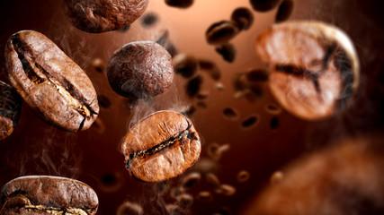 Brązowe ziarna kawy i wolne miejsce na dekoracje.