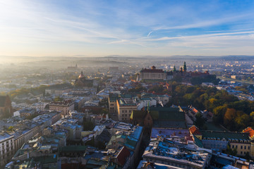 beautiful morning Aerial view looking over Krakow
