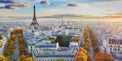 Powietrzny panoramiczny pejzażu miejskiego widok Paryż, Francja