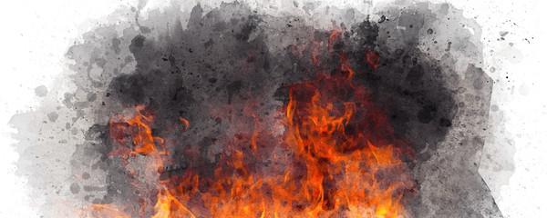 watercolor fire smoke brush background