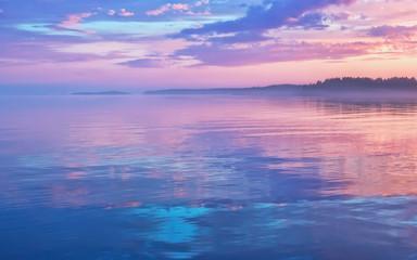 Misty Lilac Sunset Seascape With Sky Reflection