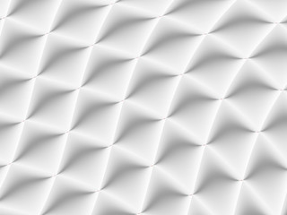 3D decorated white and light grey rhombuses in a repeating pattern. Futuristic geometric monochromatic design for backgrounds, templates, backdrops, surface, textile and fabric designs