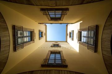 Barcelona daytime El Raval uplooking view interior Catalunya Spain touristic amazing view
