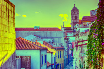 On Old Streets of Porto City in Portugal. Antique Styled Image