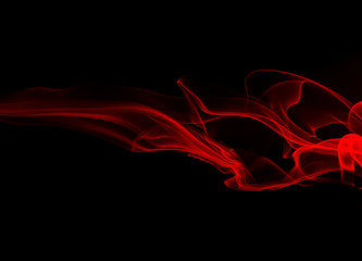 Movement of red smoke abstract on black background, fire disign
