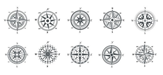 Vintage compass. Nautical wind rose, compasses for travel map, vintage marine navigation arrow symbols, retro outline vector set. Compass travel, old wind rose for sea adventure illustration