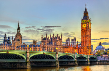 The Palace and the Bridge of Westminster in London at sunset - the United Kingdom