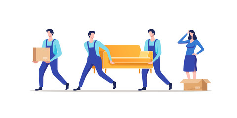 Moving house. Woman packing stuff to move to new house or apartment. Men carrying sofa and cardboard box. Vector illustration.