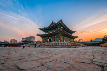 Geunjeongjeon, the Throne Hall at the Gyeongbokgung Palace, the main royal palace of the Joseon dynasty on Jun 19, 2019 in Seoul city, South Korea