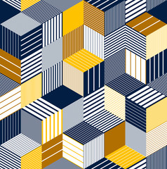 Geometric 3D seamless pattern with lined cubes, stripy boxes blocks vector background, architecture and construction, wallpaper design.