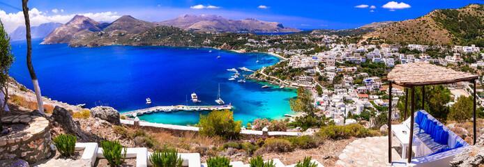 Amazing Greece - beautiful scenery of Leros island, view of Panteli beach and village