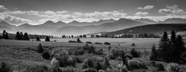 Misty Tatra Mountains - black and white panorama