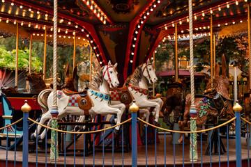 Vintage carousel in amusement park