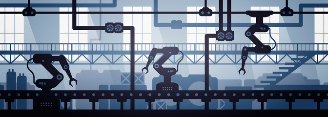 Vector illustration of seamless factory line manufacturing industrial interior background. Silhouette of industry 4.0 zone template.