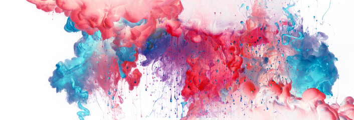 Akrylowe kolory niebieski i czerwony w wodzie. Atrament zmaza. Abstrakcyjne tło.