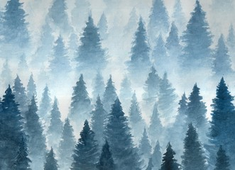 Landscape of cloudy winter forest taiga, Hand drawn watercolor illustration
