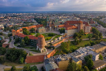 Wawel castle in Cracow at first light of sunrise - aerial view