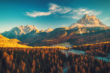 Aerial view of Lago Antorno, Dolomites, Lake mountain landscape with Alps peak , Misurina, Cortina d'Ampezzo, Italy.