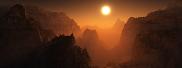 Canyon of Mars at sunset. Alien landscape. 3d rendering.