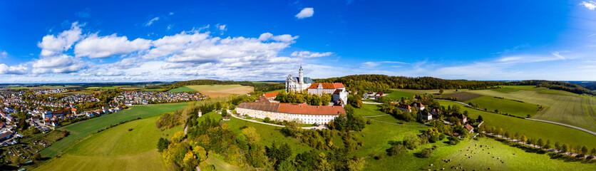 Aerial view Benedictine Monastery, Neresheim Abbey, Neresheim, Baden-Wuerttemberg, Germany