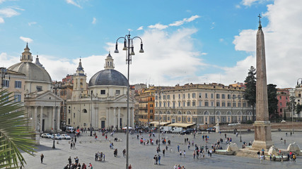 Piazza del Popolo (People's Square) with Santa Maria church and Flaminio Obelisk