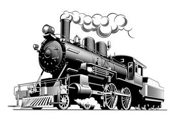 Vintage steam train locomotive, engraving style vector illustration.