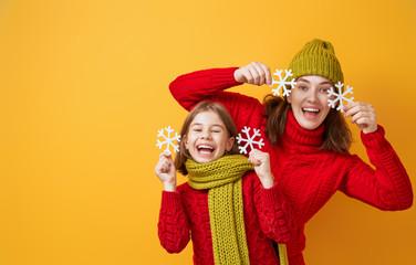 Winter portrait of happy family