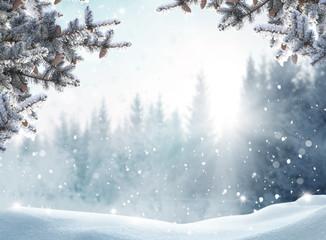 Piękny zimowy krajobraz ze śniegiem pokryte drzewami. Wesołych Świąt i szczęśliwego nowego roku pozdrowienie tła z miejsca.
