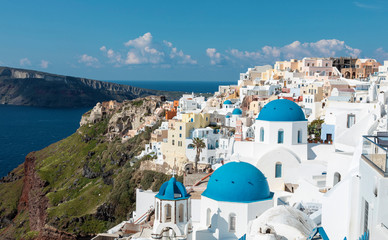 iconic and famous Santorini blue church domes in Oia