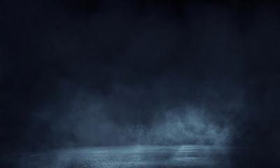 Background of an empty dark room. Empty walls, light, smoke, glow, rays