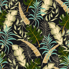 Trend seamless tropical pattern with beautiful beige and green plants and leaves on a green background. Seamless exotic pattern with tropical plants. Beautiful seamless vector floral pattern.