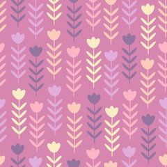 Seamless floral design in scandinavian style, vector. Organic seamless pastel background, abstract botanical motif. Cute floral pattern for kids. Floral seamless background in pastel colors