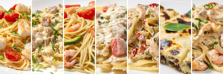 Collage of dishes from different types of pasta