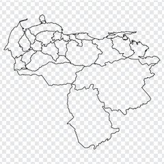 Blank map of Venezuela. High quality map Venezuela with provinces on transparent background for your web site design, logo, app, UI. Stock vector.  EPS10.