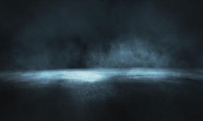 Dark street, wet asphalt, reflections of rays in the water. Abstract dark blue background, smoke, smog. Empty dark scene, neon light, spotlights. Concrete floor