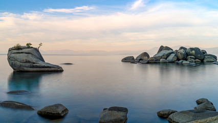 Bonsai Rock in Lake Tahoe, Nevada near Reno, located along the east shore of  Lake Tahoe.