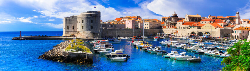 Landmarks of Croatia- splendid Dubrovnik. View with castle and harbor
