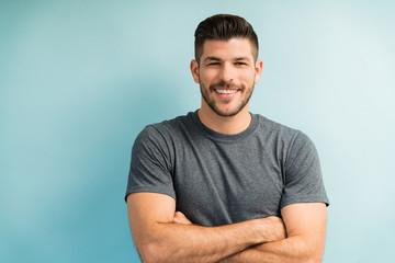 Attractive Hispanic Male In Studio