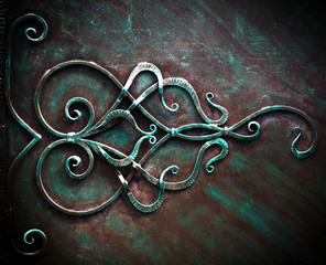 Iron Gate With Wrought Ornament On