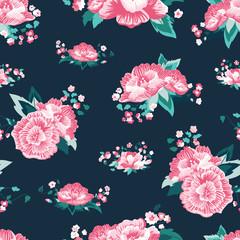 Vector Beautiful Folk Roses on Dark Green seamless pattern background.