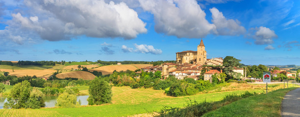 Summer landscape - view of the village of Lavardens labeled Les Plus Beaux Villages de France (The Most Beautiful Villages of France), the region of Occitanie of southwestern France