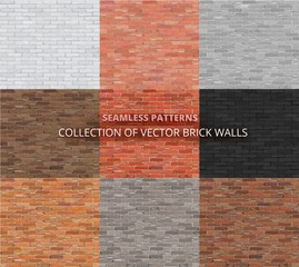 Rectangle pattern set. Vector seamless brick wall backgrounds