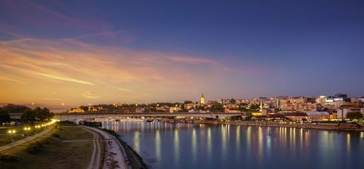 Belgrade, Old City, Cathedral, Branco's Bridge Sava River sunset, City Lights Water Reflections