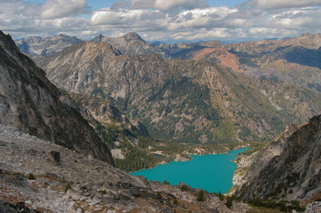 Colchuck Lake viewed from above at Asgaard Pass in the Upper Enchantment Lakes area of the Alpine Lakes, Washington State, WA, USA
