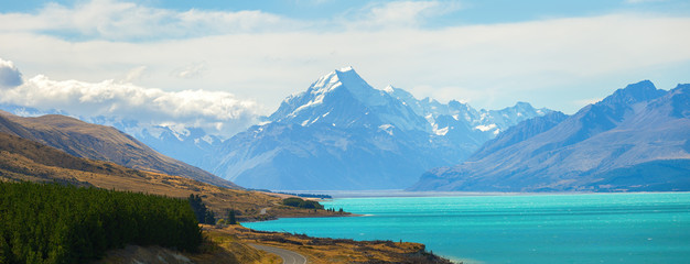 Panorama view of road leading to mount cook national park, South Island New Zealand, Travel Destinations Concept