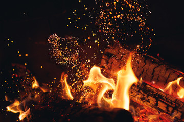 burning fire logs with sparks in the fireplace